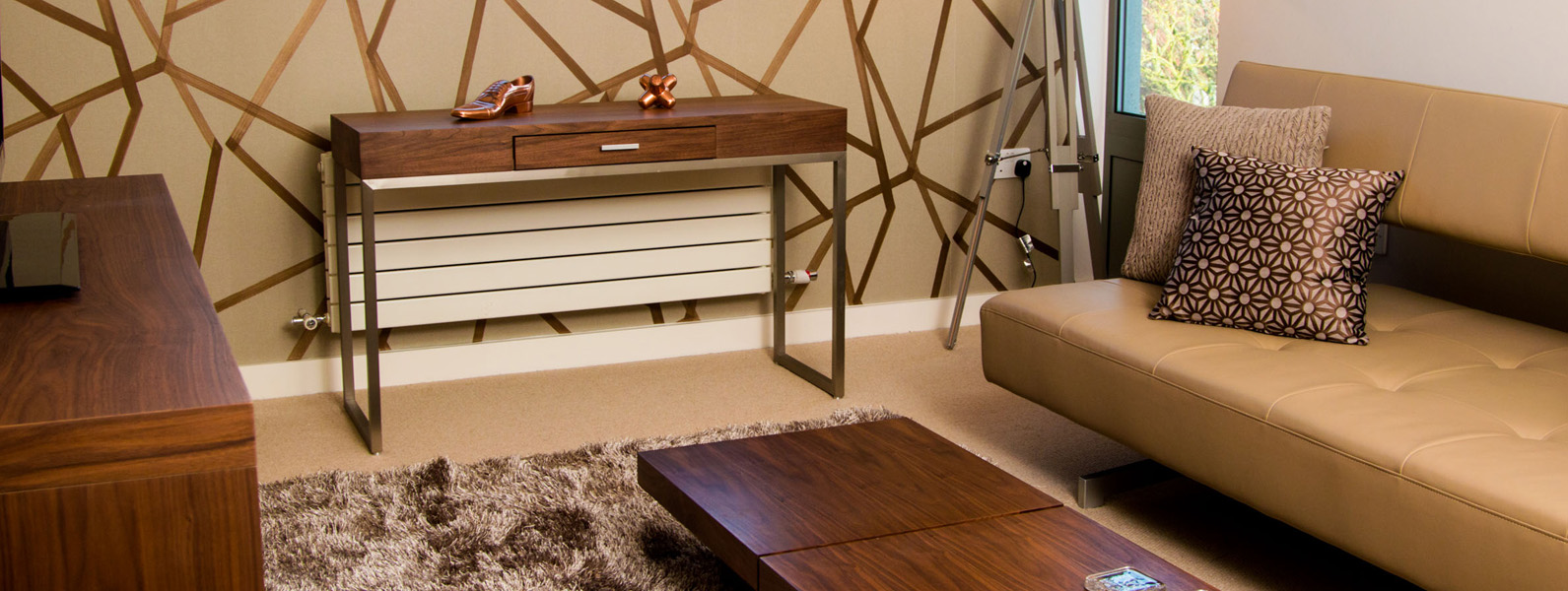 Guest bedroom/study room interior design and styling details by Moji Salehi at Moji Interiors in Hove.