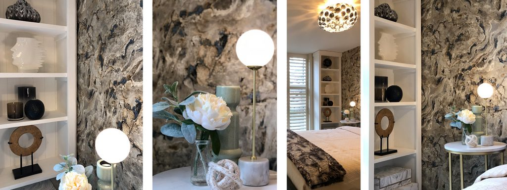 Bedroom interior design and styling details by Moji Salehi at Moji Interiors in Hove.